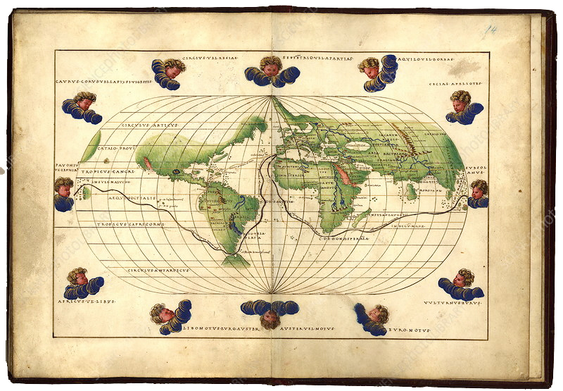 Magellan's route, 16th century map